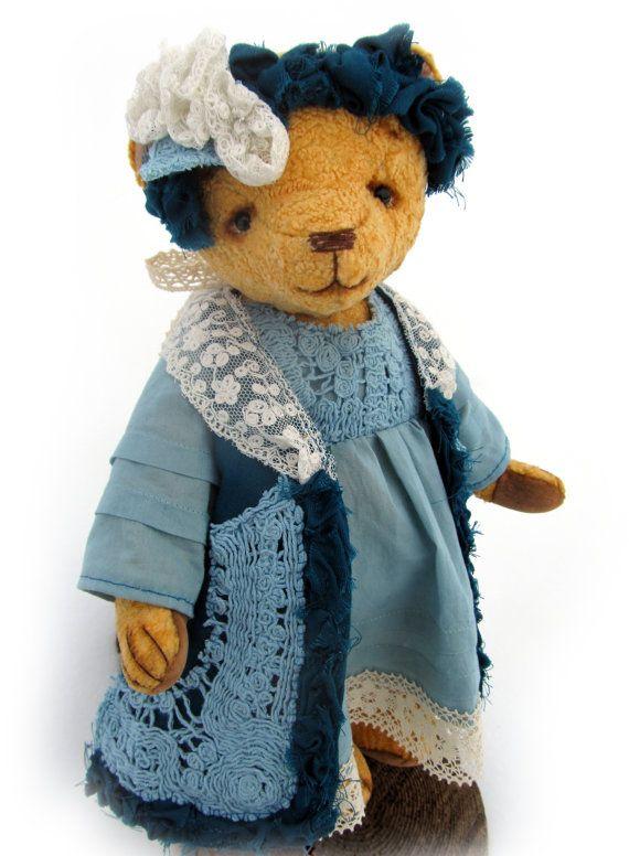 Anny  artist teddy bear from old plush fabric. от BelayaBelkabears