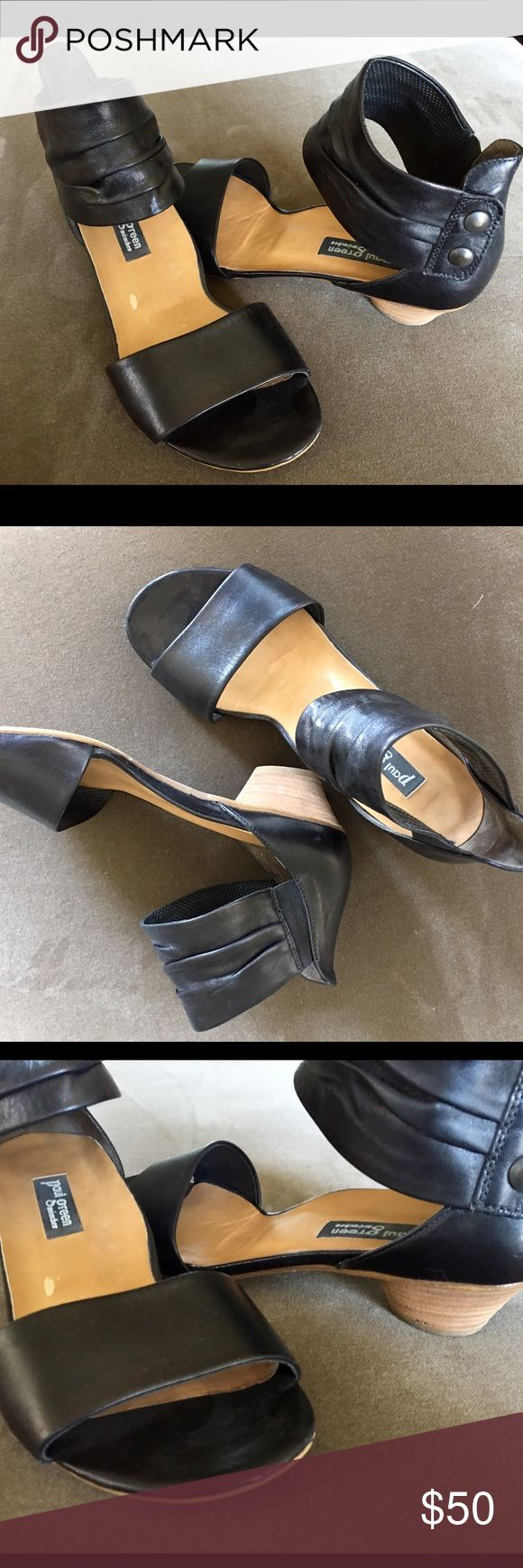 """Paul Green sandals These are Paul Green black sandals with ankle detail. Hardly worn. Fun heel. These are hand made and from Germany. I have a pair of their boots which will go soon. I have to many SHOES! They say size 5 1/2 which equals 8 in US  """" At Paul Green our brand stands for hand crafted artisan quality women's shoes. We were founded in Munich in 1988 and today are at home in Mattsee near Salzburg, Austria."""" This is from their website. Paul Green Shoes Sandals"""