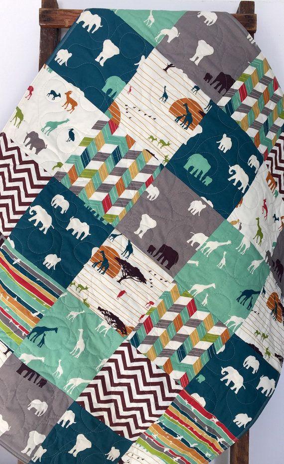 Baby Quilt, Organic, Gender Neutral, Serengeti, Safari, Elephants, Giraffe, Modern, Crib Bedding, Crib Quilt, Baby Bedding,Child