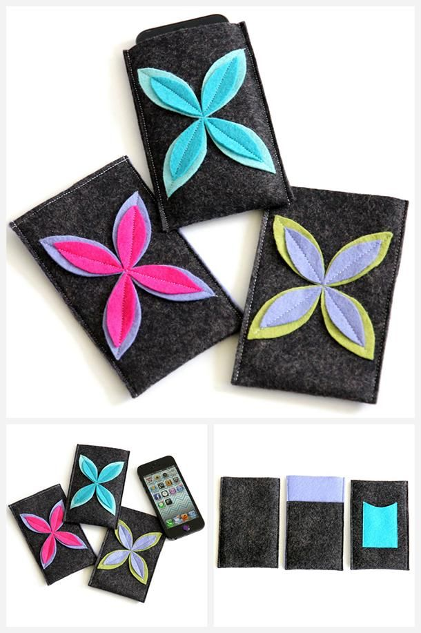 145 best diy fabric phone case images on pinterest for Diy felt flower mobile