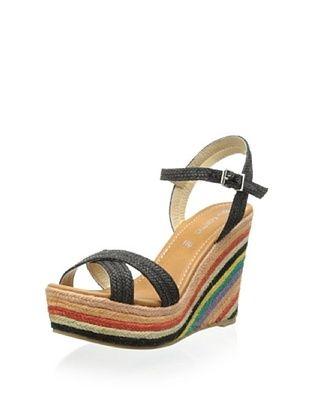 83% OFF Blu Karma Women's Rebecca Rainbow Wedge Sandal (Black)