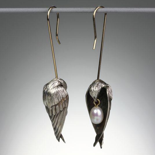 Rara Avis // Quadrum - Gabriella Kiss - Bronze Bird Head Earrings with Pearls