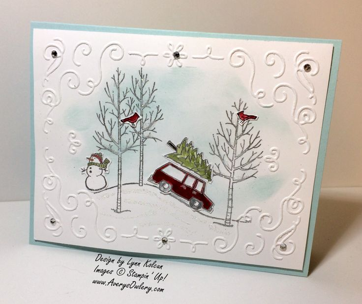 I'm a sucker for trees and scenes on my cards. Don't believe me, click Here, Here, here and here. So, when I saw the White Christmas stamp set I fell in love. The little car with the tree on top.…