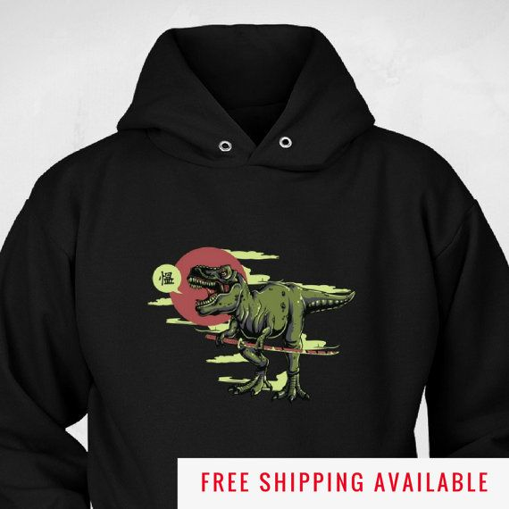 Awesome Dinosaur Hoodie - T-Rex Samurai Graphic Dinosaur Sweatshirt - Funny Hoodie Sizes to 5XL - Cool Sweatshirt Gift (NKT1Hd) by NuKryptonTeesCo #nktees #etsy #funny