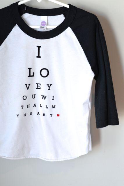 DIY Valentine's Day Tshirt. Heat Transfer Vinyl Eye chart.
