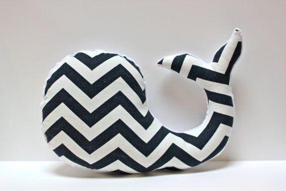 Modern baby Chevron WHALE pillow  nautical nursery by LilKingdom, $28.00