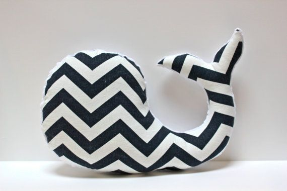 Modern baby Chevron WHALE pillow - nautical nursery decor navy white plushie - shower gift for new mom