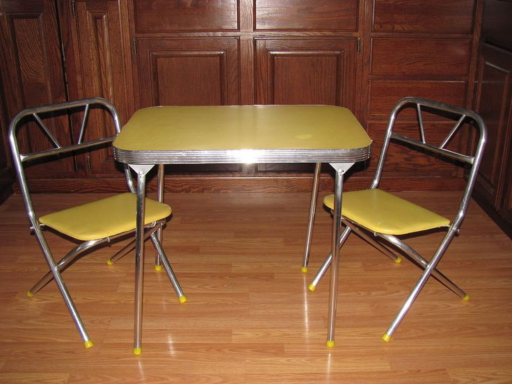 Vintage Child Size Table 2 Chairs Chrome Kitchen Children