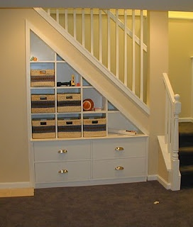 Under the stairs built-in bookshelves...good use of useless space.