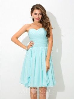 A-Line Sweetheart Sleeveless Pleats Short Chiffon Bridesmaid Dress