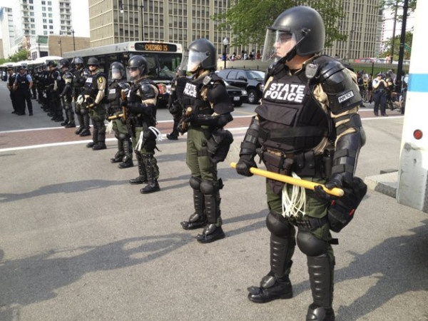 Those words on their vests are backwards #policestate #NoNATO #Occupy #OccupyChicago #OCHI