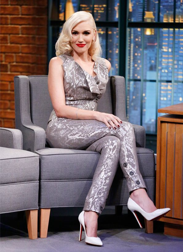 Gwen Stefani wore our Anglomania Twisted Trousers and Ocean Top for her appearance on Late Night with Seth Meyers.