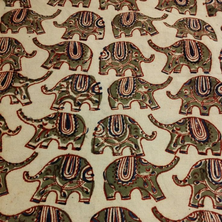 Animal Print Fabric Elephant Pattern Cotton Kalamkari