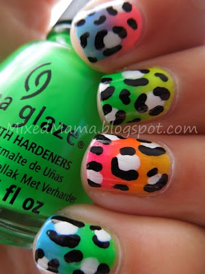 MixedMama: Neon Gradient Leopard Print --For Madison: Prints For, Leopard Print, Neon Gradient, Sarah Arredondo, Pretty Nails, For Madison, Beauty Queen, Leopards Prints, Gradient Leopards