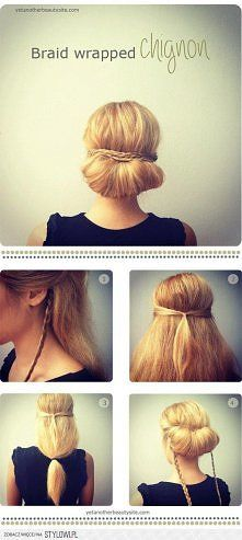 Braid wrapped chignon...pretty simple