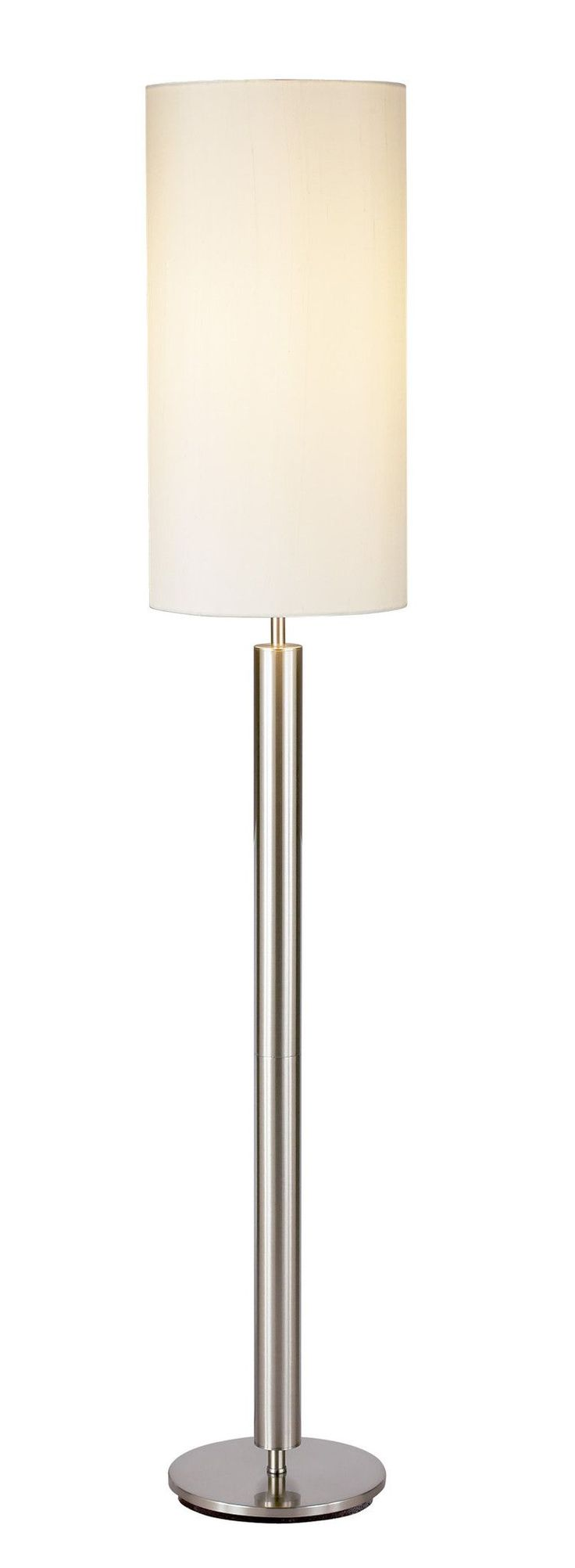 Each Hollywood Lamp Has A Chunky Satin Steel Pole With A Flat Round Base  And A Tall Ivory Silk Shade. Has A Three Way Touch Sensor Switch (not  Compatible ...
