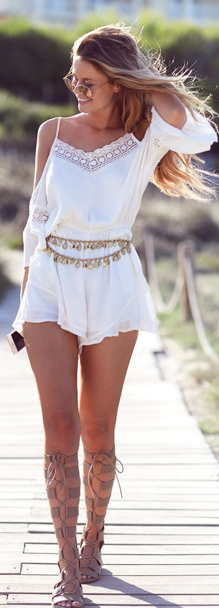 white summer romper boho fashion: