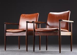 Lot: 2892547Finn Juhl. Pair of rosewood armchairs from the 'Diplomat series' (2)