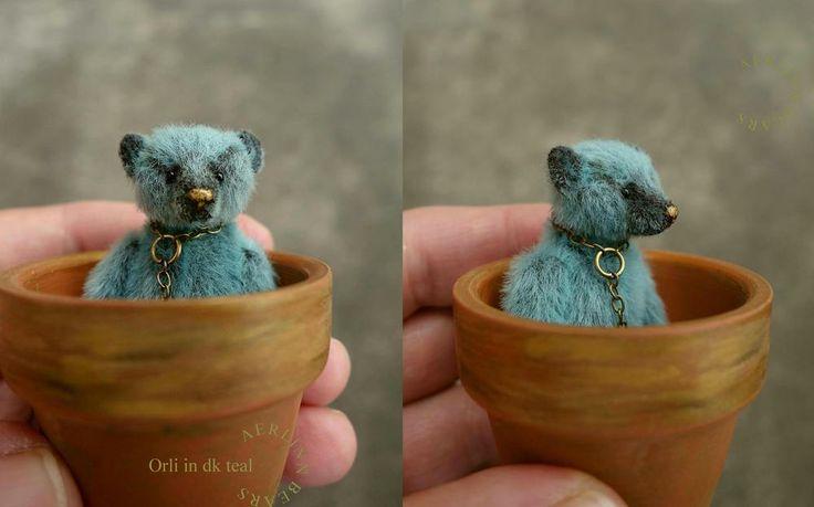 aerlinn bears | ... of SOLD~Miniature 6cm Teddy Bear 'Orli' in dk teal by Aerlinn Bears