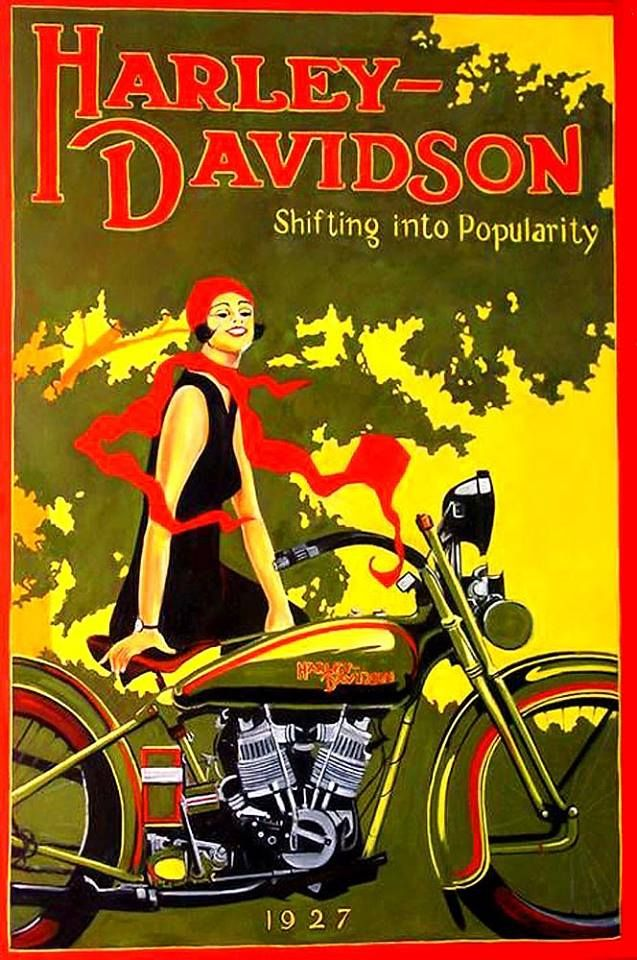 HarleyDavidson Woman in Red Scarf on Bike 1927 Harley
