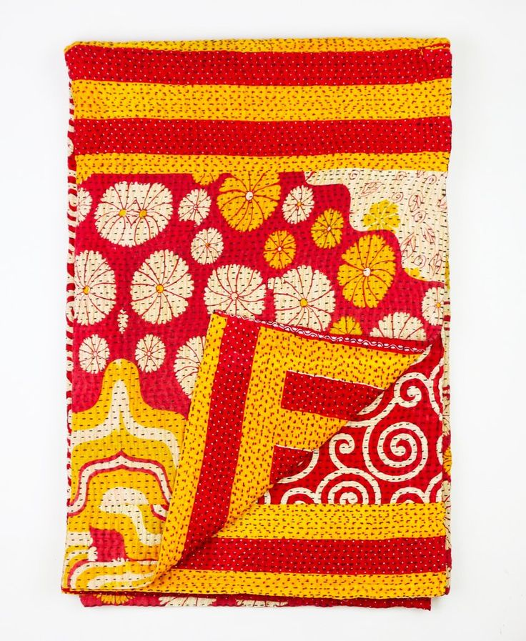 Kantha Throw Quilt - Orange and Red Daisy