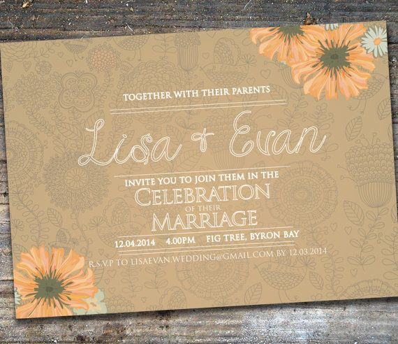 Vintage Pattern Burlap Wedding Invitations by SixDaysCreations
