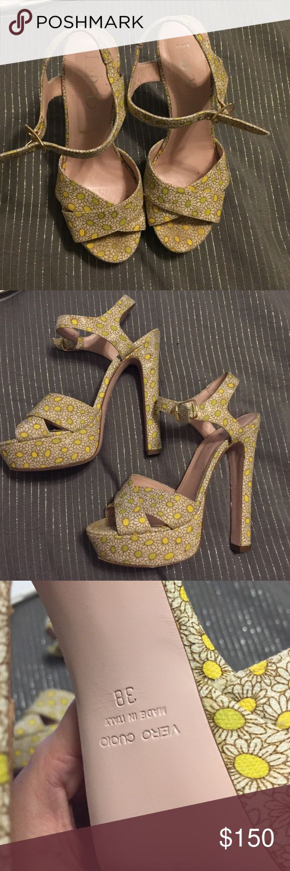 Red Valentino daisy shoes sz 38 Used but excellent condition. Super cute. Hidden platform makes them easier to walk in. Fabulous! Valentino Shoes