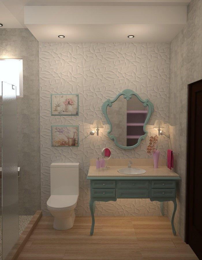 Cuarto de baño. Estilo - Vintage. Materiales utilizados ...