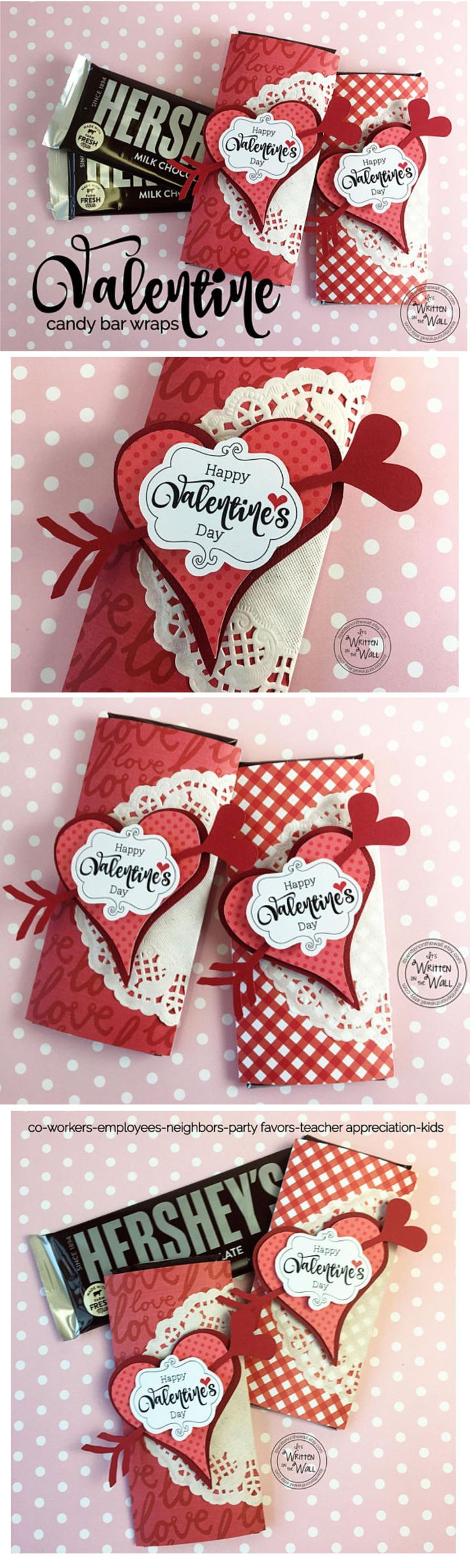 Valentines Day Candy Bar Wrappers-Co-Worker treats-Employee gifts, Party Favors,…