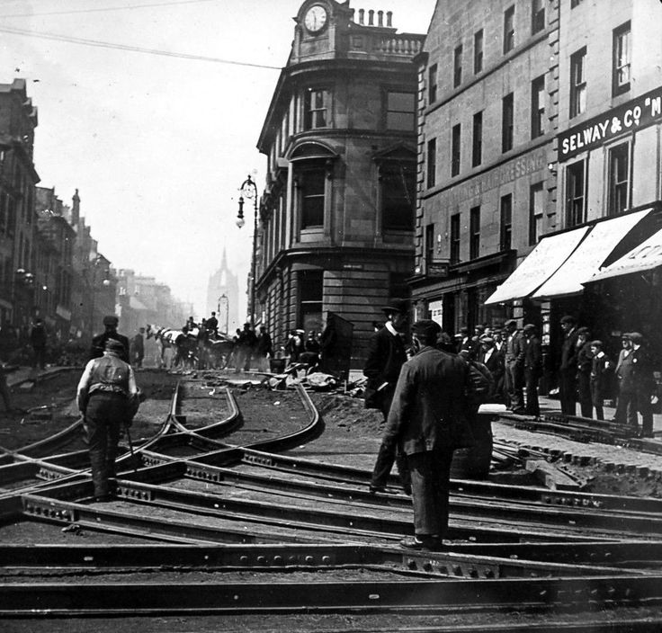 Old photograph of laying Tram lines in Paisley , by Glasgow , Scotland . The West End is on the road to Johnstone on the West, and Glasgow ...