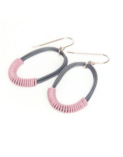 Small Grey Single Oval Earrings