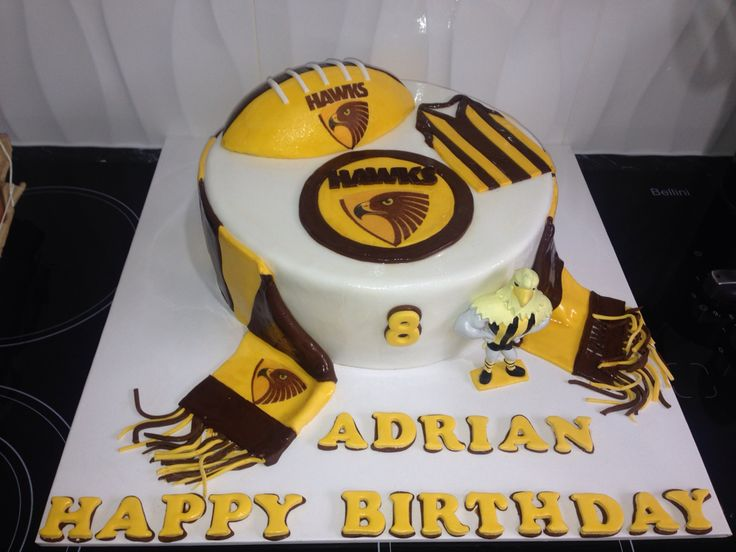 AFL Hawthorn football cake theme