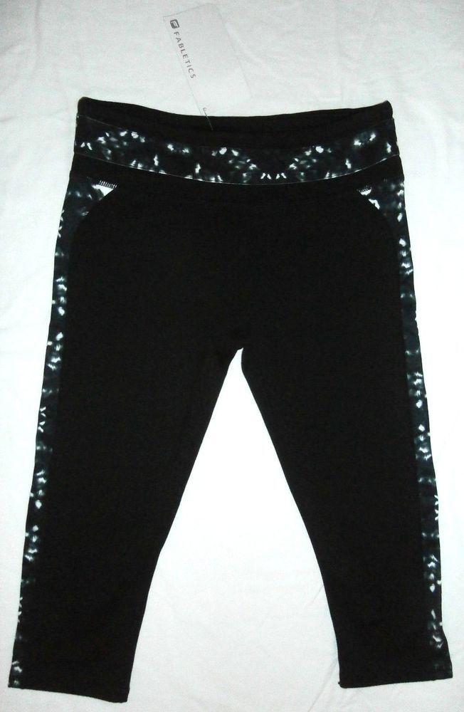 NWT Fabletics Camacan Workout Yoga Capri Pants Black Black/White Print Size S #Fabletics #PantsTightsLeggings