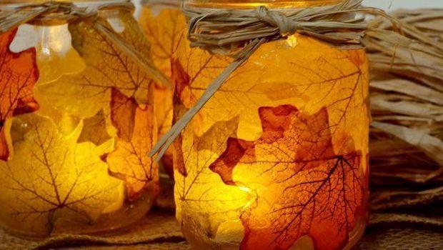 Le lanterne fai da te con foglie autunnali vere: