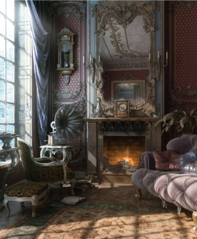Moody Victorian living room.