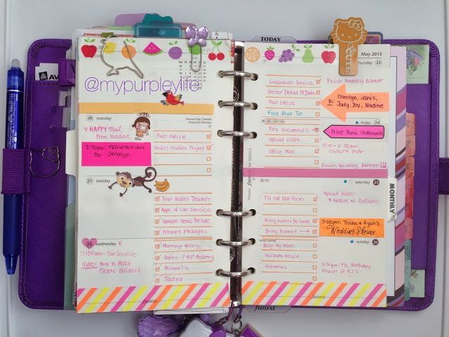 By MyPurpleyLife. She has lots of cute ideas for decorating Filofax pages.