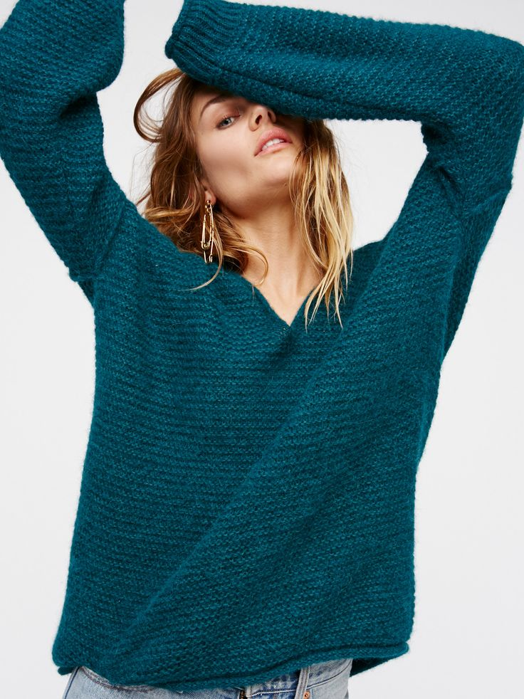All Mine Sweater | Simple long sleeve knit sweater featuring a V-neckline and an easy, effortless shape with a so cozy feel. Ribbed sleeve cuffs.