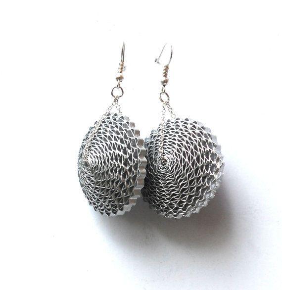 Argento orecchini geometrici / grandi orecchini di carta / 1 ° anniversario regalo per lei, mamma regalo / carta gioielli dichiarazione d