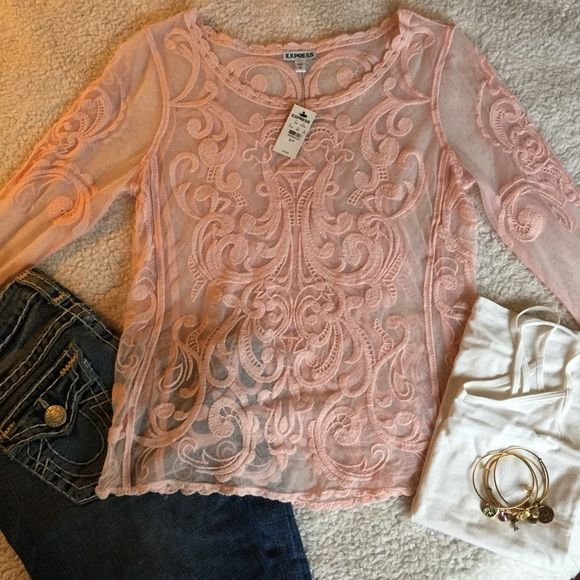 NEW Express pink lace top SZ small New with tags. Express pink lace top size smallmake me an offer! Express Tops Blouses
