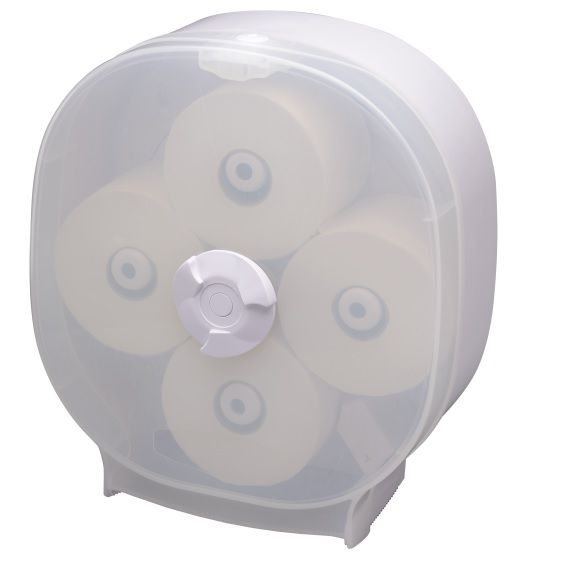 Plastic four roll carousel toilet roll dispenser for washrooms from commercial-cleaning-supplies.co.uk