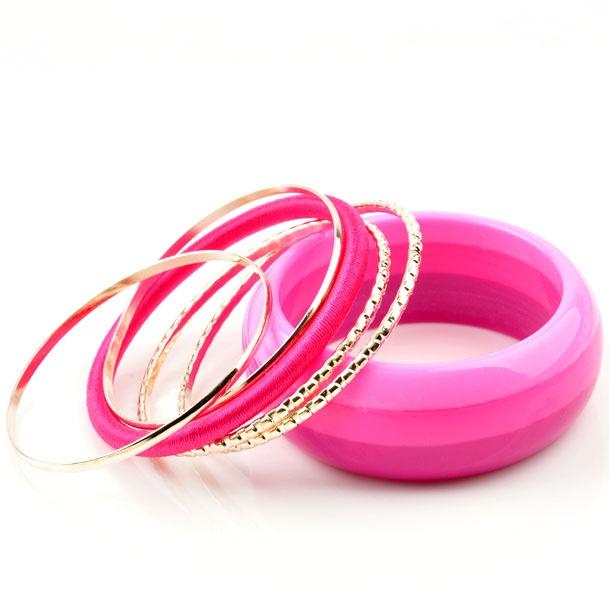 Wide Rose Bangle Stacked Bracelet Set