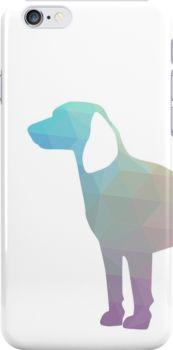 Beagle Hunting Hound Dog Colorful Geometric Pattern Silhouette by TriPodDogDesign