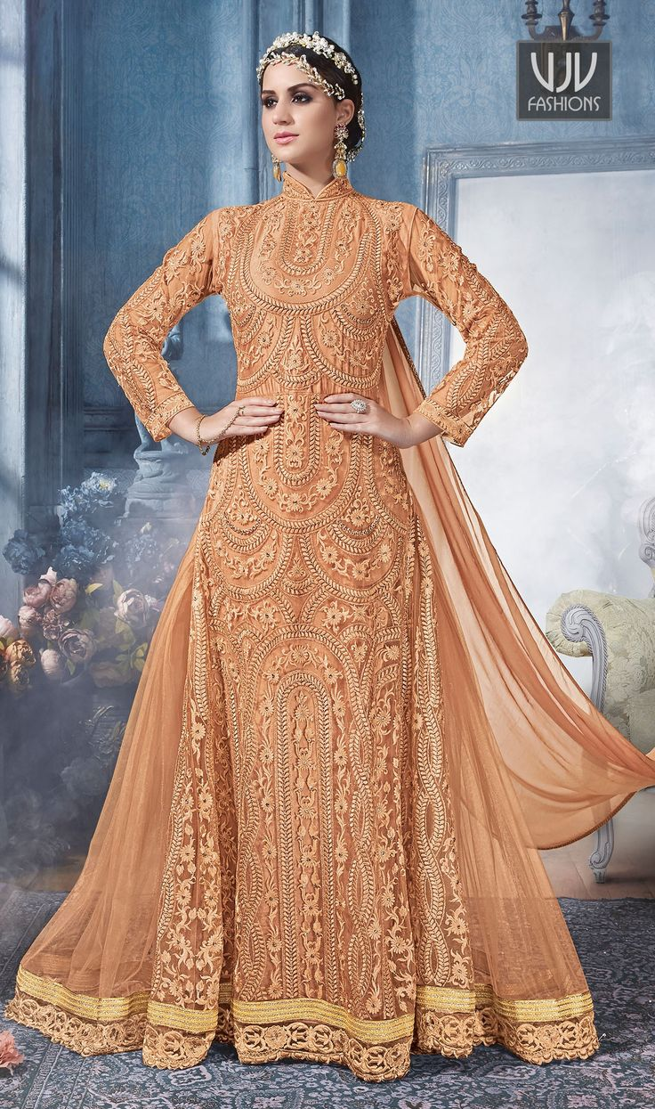 Beauteous Orange Color Net Satin Designer Anarkali Suit  Fashion and pattern will be on the peak of your splendor the moment you attire this orange color net and satin designer anarkali suit. It has been beautifully designed with embroidered, resham and zari work.