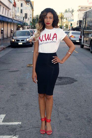 Lench Mob Nwa Tee Shirt, Bebe Pencil Skirt, Zara Strappy Sandals