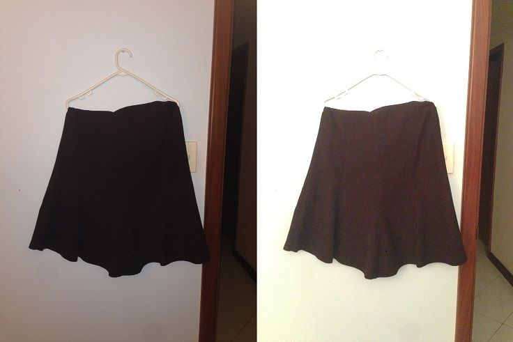 A-line skirt (I think) - loose from hips to knees, flare out but not too much