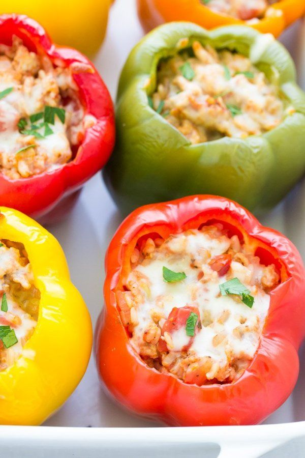 Stuffed Bell Peppers With Rice Ground Turkey Or Beef Tomato Sauce And Seasonings These Easy Ital Stuffed Peppers Stuffed Bell Peppers Stuffed Peppers Turkey