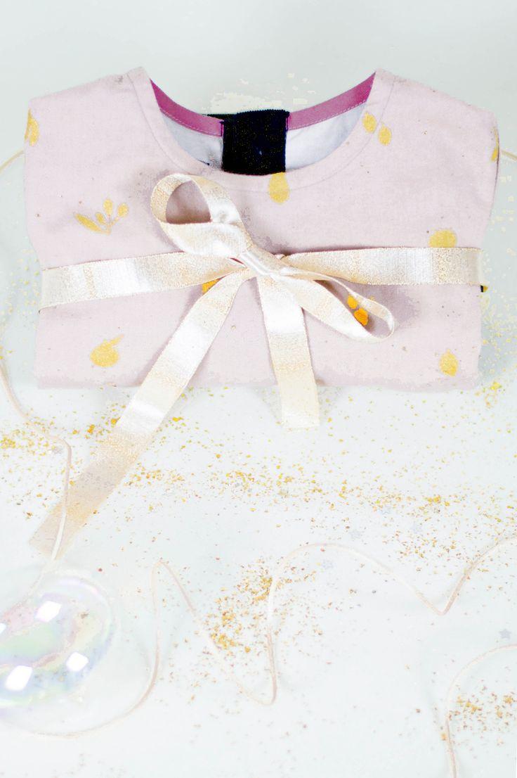 Robe boule rose poudré à fruits dorés - cadeau fille - LEON & LOUISE