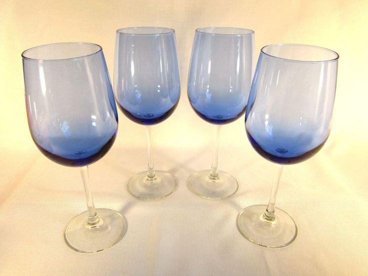 Cobalt Blue Crystal Stemmed Wine Glasses  #Handmade