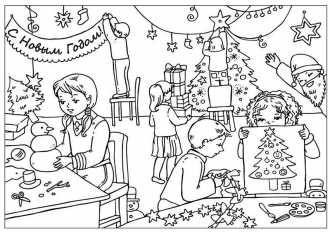 раскраска дети готовятся к встречи Нового Года печатать ...