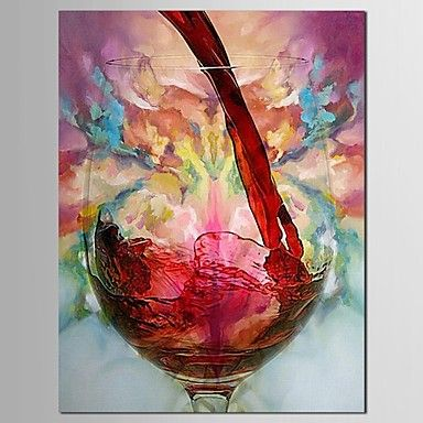 Handgeschilderde olieverf stillevens rode wijn en fles met gestrekte kader - EUR € 53.62